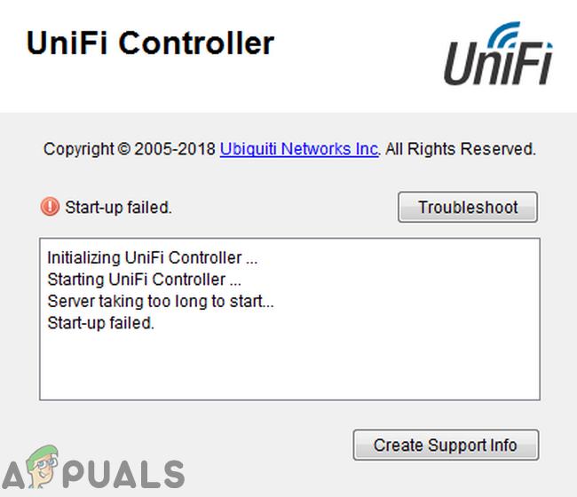 Исправлено: Ошибка запуска Unifi Controller