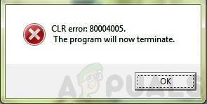 Как исправить ошибку CLR 80004005 «Программа теперь прекратит работу»