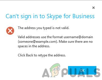 [FIX] Введенный вами адрес не является действительным Ошибка Skype
