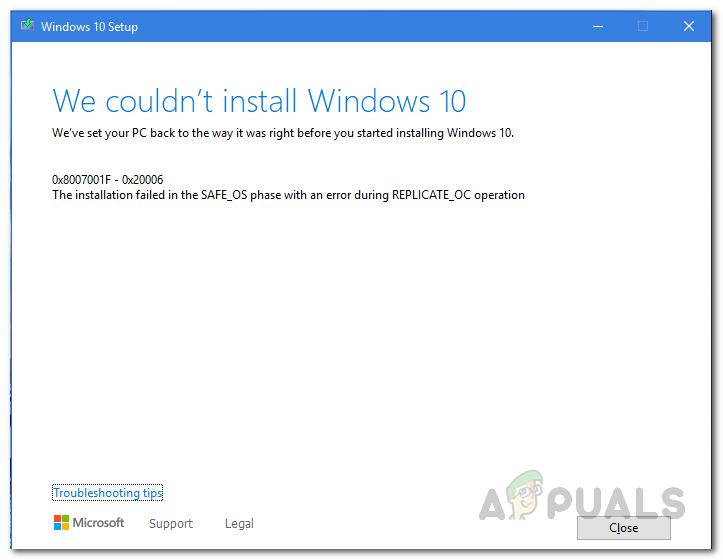 Как исправить ошибку установки Windows 10 в SAFE_OS во время операции REPLICATE_OC