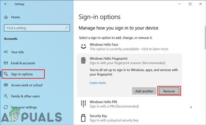 Как отключить распознавание лиц или вход по отпечатку пальца в Windows 10?