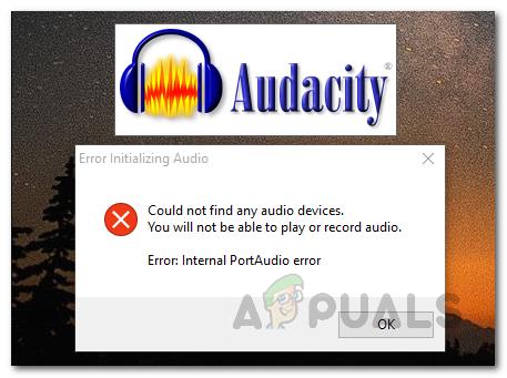 Исправлено: Audacity не могла найти аудиоустройства.