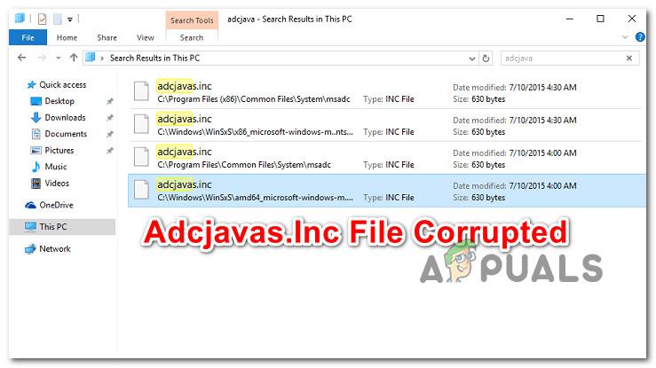 Как исправить ошибку «Файл Adcjavas.Inc поврежден»