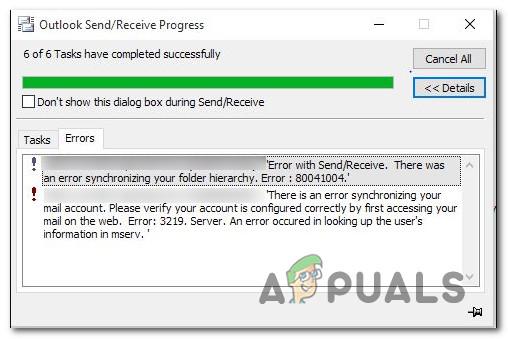 Как исправить ошибку Outlook 80041004 в Windows