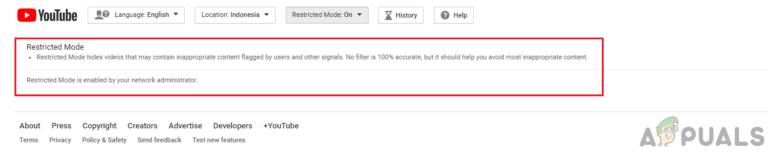 """ИСПРАВЛЕНИЕ: Невозможно отключить """"Ограниченный режим включен вашим сетевым администратором"""" на YouTube"""