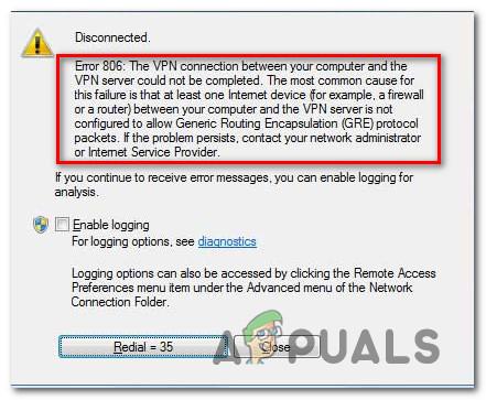 Как исправить ошибку VPN 806 (GRE заблокирован) в Windows