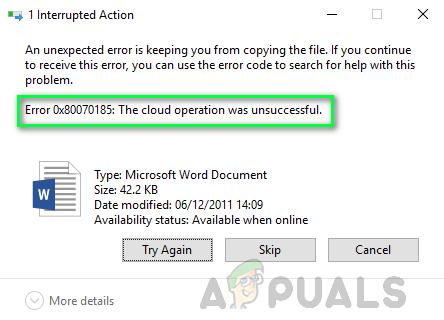 Как исправить код ошибки OneDrive 0x80070185 в Windows 10?