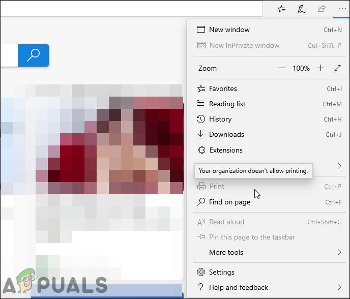Как отключить печать в Microsoft Edge в Windows 10?