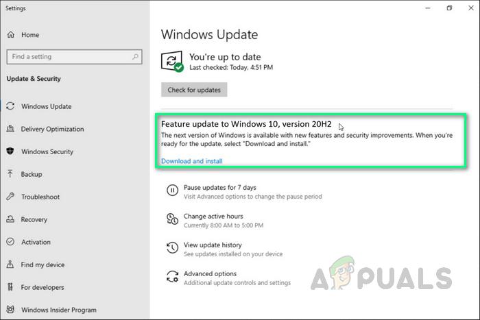 Как исправить, что обновление 20H2 не устанавливается в Windows 10?