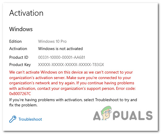 Как исправить ошибку активации Windows 0x8007267C?