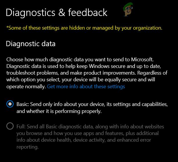 [FIX] Не удается изменить диагностические данные на «Полные» в Windows 10