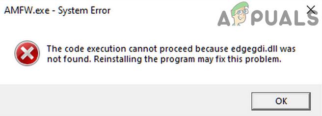Исправлено: выполнение кода не может продолжаться (ошибка Edgegdi.dll)
