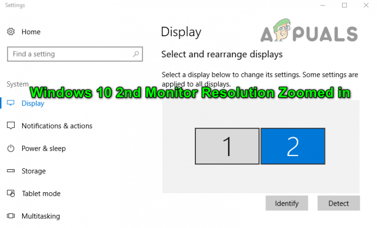 Исправлено: увеличено разрешение 2-го монитора в Windows 10