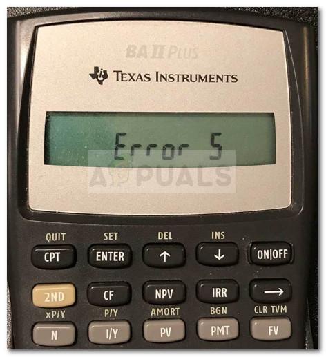 Как исправить ошибку 5 на калькуляторах BA II Plus