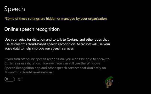 Как отключить функцию распознавания речи в Интернете в Windows 10?