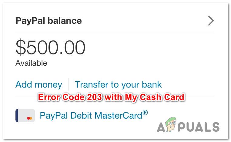 Как исправить код ошибки 203 My Cash с помощью PayPal