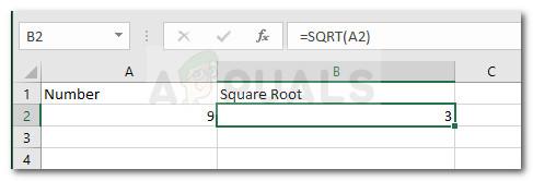 Как вычислить квадратный корень числа в Excel