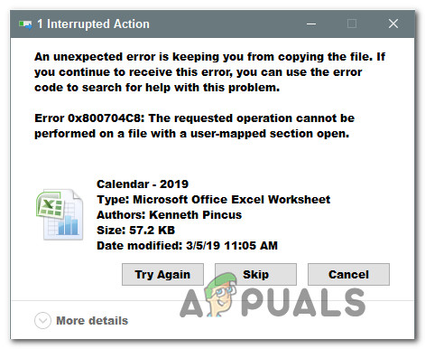 Исправить ошибку 0x800704C8 в Windows 10 при копировании файлов