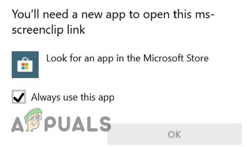 Исправлено: вам понадобится новое приложение, чтобы открыть эту ссылку MS- Screenclip.