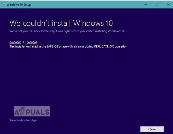 [FIX] Обновление Windows 10 не работает — '0x8007001f — 0x20006'