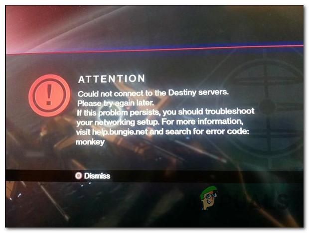 Как исправить обезьяну с кодом ошибки Destiny?