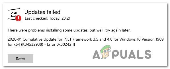 Исправлено: не удалось обновить Windows 10 Ошибка 0X80242FFF