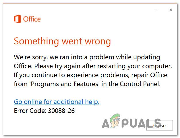 Исправьте Microsoft Office с кодом ошибки 30088-26 при обновлении Office