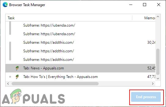 Как отключить «Завершить процесс» в диспетчере задач браузера в Microsoft Edge?