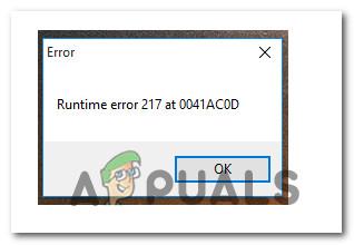 Как исправить ошибку выполнения 217 (0041ACoD) в Windows 10?