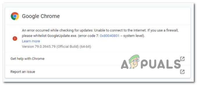 Исправить ошибку обновления Google Chrome (код ошибки – 7: 0x80040801)