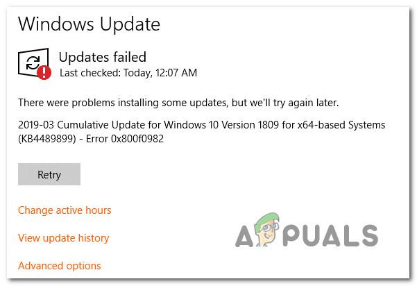 Устранение ошибки обновления Windows 10 0X800F0982 (исправление)