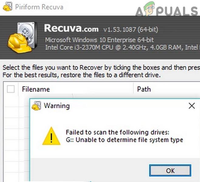 Устранить Recuva не удается определить тип файловой системы (ошибка)