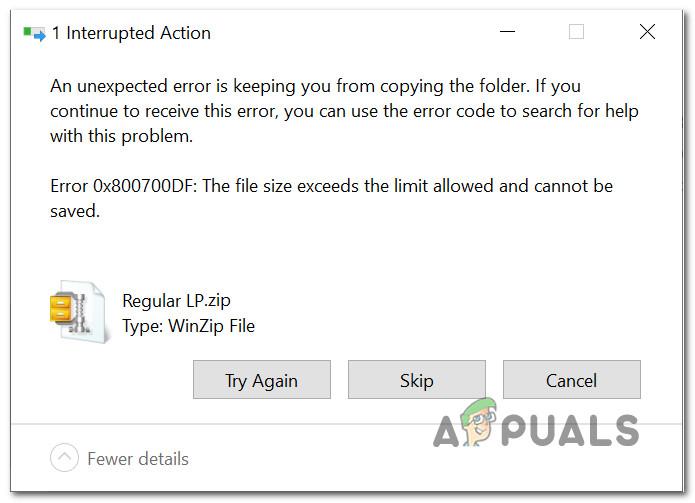 Разрешить размер файла превышает предел ошибки 0x800700DF в Windows 10