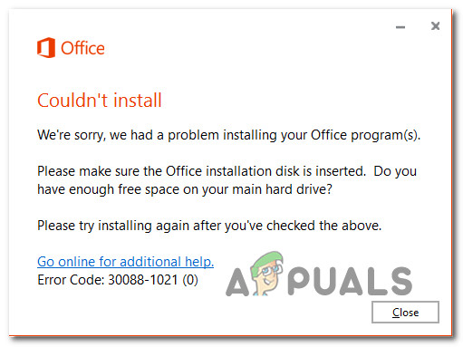 Office возвращает свободное пространство и ошибка вставки диска 30088-1021 (0) [Easy Fixes]