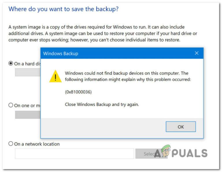Устранение ошибки 0x81000036 при использовании архивации Windows
