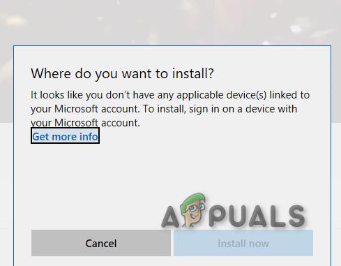 Исправлено: к вашей учетной записи Microsoft не привязаны какие-либо подходящие устройства.