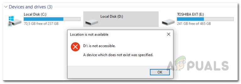 Как исправить ошибку «Указано несуществующее устройство»?